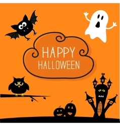 Haunted house pumpkins owl bat ghost cloud in vector
