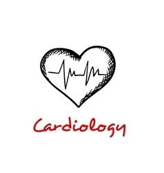 Heart sketch icon with ECG graph vector image
