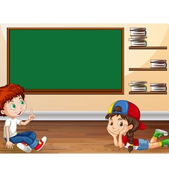 Boy and girl learning in classroom vector