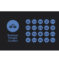 Set of business people conflict simple icons vector