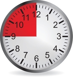 Clock with red 15 minute deadline vector