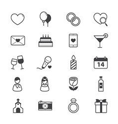 Valentine and love wedding icons line vector
