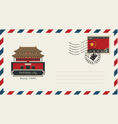 an envelope with a stamp and a chinese flag vector image