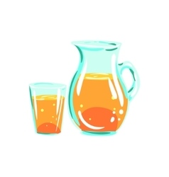 Apple juice pitcher and glass funky hand drawn vector