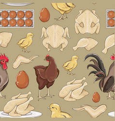chicken icons pattern vector image vector image