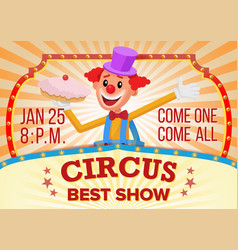 circus clown banner blank traveling circus vector image