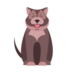cute dog seating cartoon flat icon vector image vector image