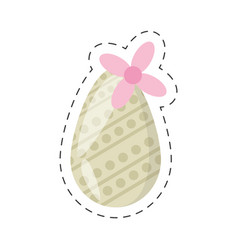 Easter egg decoration and flower - cut line vector