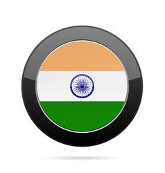 Flag of india shiny black round button vector