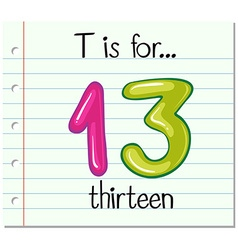 Flashcard letter t is for thirteen vector