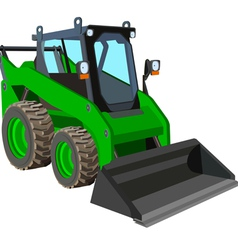 Green skid loader vector