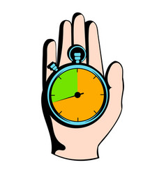 Hand holding a stopwatch icon icon cartoon vector