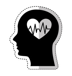 human profile with heart cardio vector image vector image
