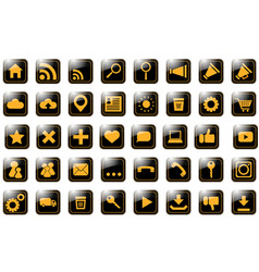 icon site orange on black vector image vector image