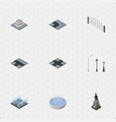 Isometric architecture set of plants intersection vector
