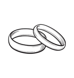 Pair of traditional wedding rings for bride and vector