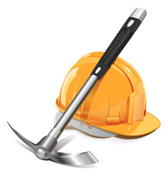 Pickaxe with helmet vector