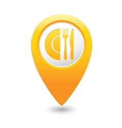 restaurant icon map pointer yellow vector image