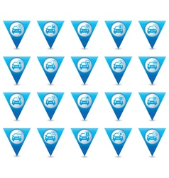 Set of 20 cars wit signs triangular map pointer vector