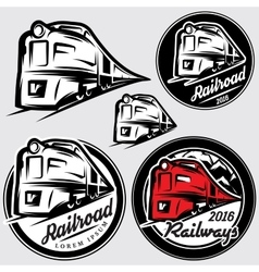 set of emblems in retro style with locomotives and vector image