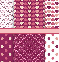 set of seamless romantic patterns tiling - pink vector image vector image