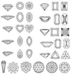Set of shapes of diamond in wireframe vector image