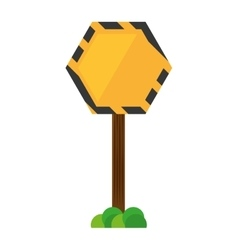 sign road hexagon caution yellow empty with grass vector image