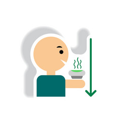 Stylish icon in paper sticker style man drinking vector