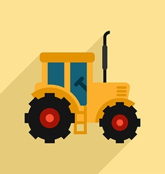 Tractor Icon Design Flat Style with Long Shadow vector image