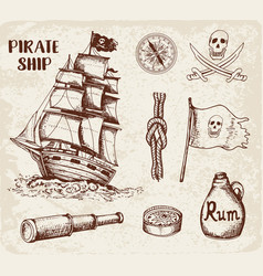 vintage pirate ship vector image vector image