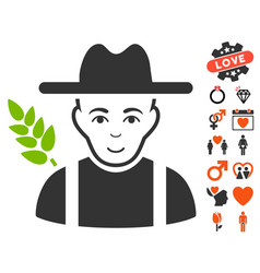 Wheat farmer icon with dating bonus vector