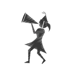 Woman with party megaphone icon vector
