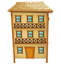 Wooden house with three stories vector