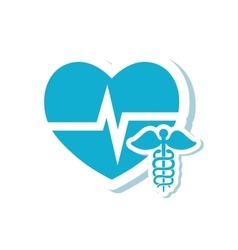 Caduceus heart medical care design vector