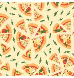 Seamless pattern with assorted pizza slices  vector