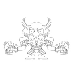 Dwarf with beer mugs contour vector