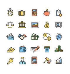 Banking and accounting icon color thin line set vector