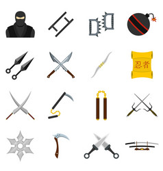 Ninja tools icons set in flat style vector