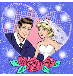Pop art of bride and groom vector
