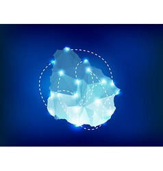 Uruguay country map polygonal with spot lights vector