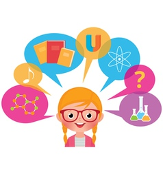 Girl studying different sciences vector image