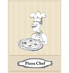 Chef with pizza card vector