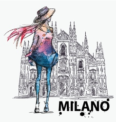 Girl on a milano duomo background vector