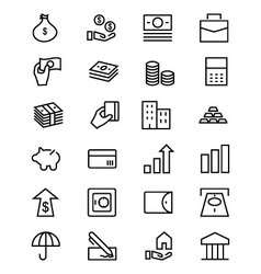 Money line icons 1 vector