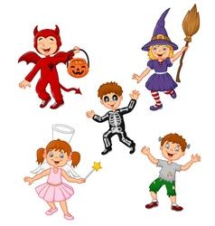 Cartoon kids wearing halloween costume collection vector