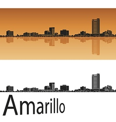 Amarillo skyline in orange vector image