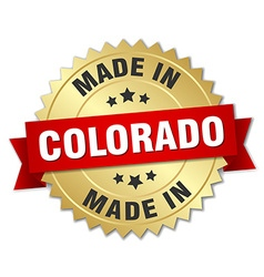 Made in colorado gold badge with red ribbon vector