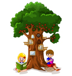 Funny children with green apple house vector