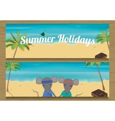 2 summer holidays banner with cute couple mouse vector