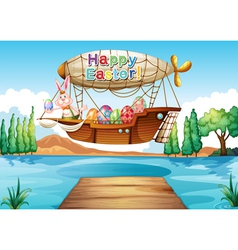 A happy easter greeting above the river vector image
